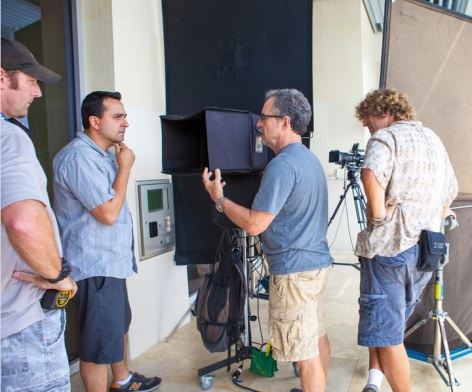Director Eric Badros and actor Paul Atkins on the set of CLEW