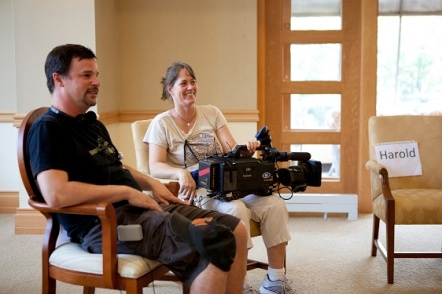 Hank Rogerson and Jilann Spitzmiller take a break while shooting STILL DREAMING.  Photo by Genevieve Russell.